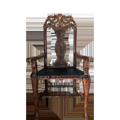 Par-de-sillones-de-madera-tallada-y-policromada-con-asiento-en-cuero-repujado-1