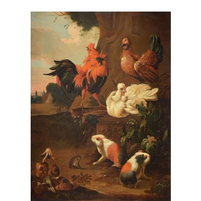 melchior-dhondecoeter-aves-de-casa-ardillas-y-hongos-1